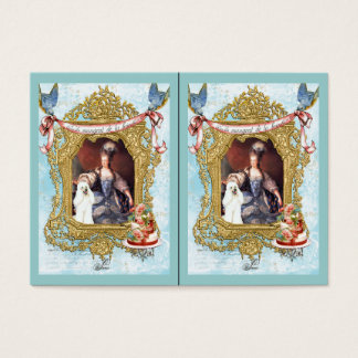 Marie Antoinette & White Poodle in Fancy Frame Business Card
