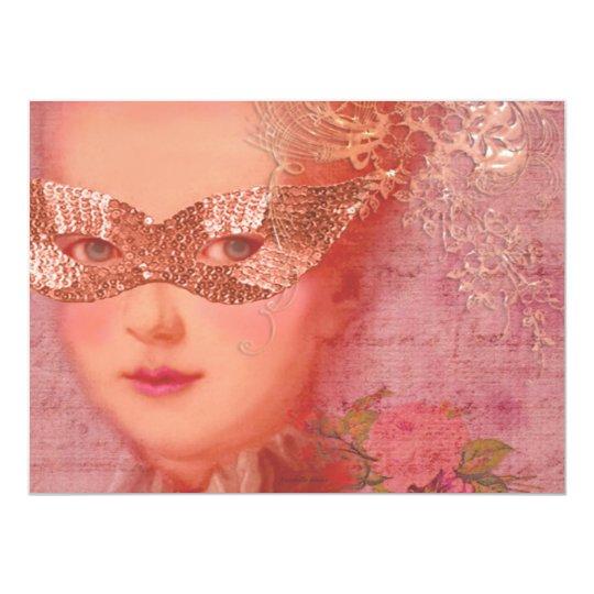 Marie Antoinette Winter Wedding Masquerade 5 x 7 Card