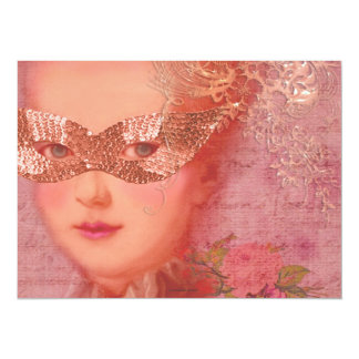 Marie Antoinette Winter Wedding Masquerade 5 x 7 5.5x7.5 Paper Invitation Card