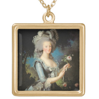 Marie Antoinette with a Rose, 1783 Gold Plated Necklace