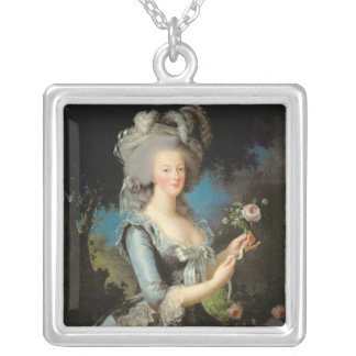 Marie Antoinette  with a Rose, 1783 Silver Plated Necklace