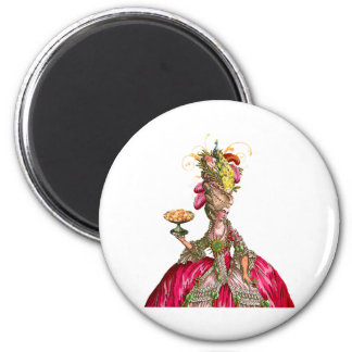 Marie Antoinette with Cakes and Peacock 2 Inch Round Magnet
