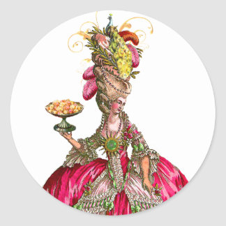 Marie Antoinette with Cakes and Peacock Classic Round Sticker