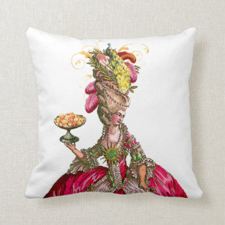 Marie Antoinette with Cakes and Peacock Throw Pillow