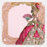 Marie Antonieta en marco rococó de las rosas fuert Calcomanía Cuadradas