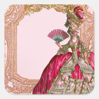 Marie Antonieta en marco rococó de las rosas Pegatina Cuadrada