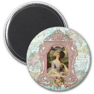 Marie Antonieta en marco rosado Imán Para Frigorífico