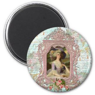 Marie Antonieta en marco rosado Iman Para Frigorífico