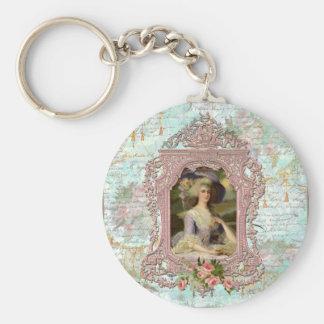 Marie Antonieta en marco rosado Llavero Redondo Tipo Pin