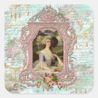 Marie Antonieta en marco rosado Pegatina Cuadrada