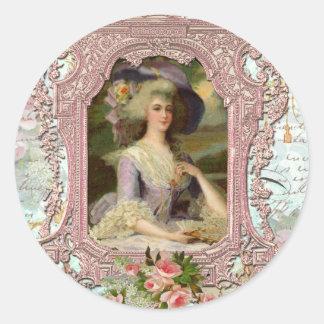 Marie Antonieta en marco rosado Pegatina Redonda
