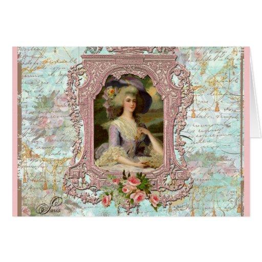 Marie Antonieta en marco rosado Tarjeta