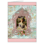 Marie Antonieta en marco rosado Tarjetón