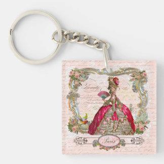 Marie Antonieta en rosas fuertes Llavero Cuadrado Acrílico A Doble Cara