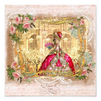 """Marie Antonieta en Versalles en rosa Invitación 5.25"""" X 5.25"""""""