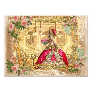 """Marie Antonieta en Versalles en rosa Invitación 5.5"""" X 7.5"""""""