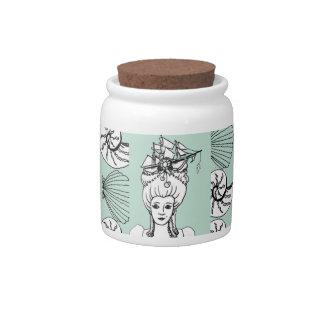 Marie Antonieta por el tarro del caramelo del mar Platos Para Caramelos