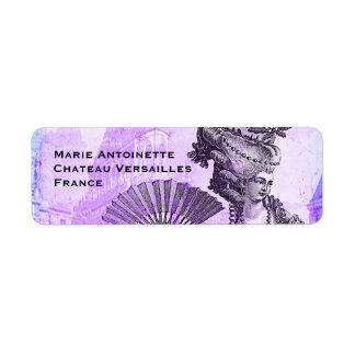 Marie Antonieta y castillo de Versalles en púrpura Etiquetas De Remite