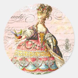 Marie Antonieta y París rosada Etiqueta Redonda