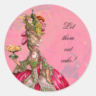 Marie Antonieta y pegatinas de los pasteles Etiqueta Redonda