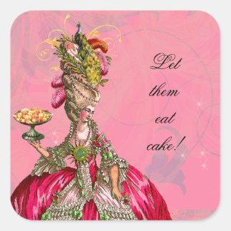 Marie Antonieta y pegatinas de los pasteles Pegatina Cuadrada