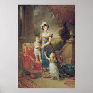 Marie-Caroline de Borbón con sus niños Posters