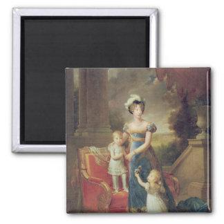 Marie-Caroline de Bourbon  with her Children 2 Inch Square Magnet