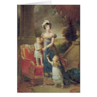 Marie-Caroline de Bourbon  with her Children Card