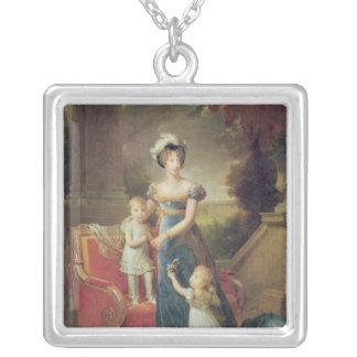 Marie-Caroline de Bourbon  with her Children Silver Plated Necklace