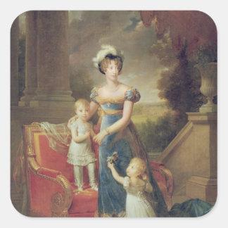 Marie-Caroline de Bourbon  with her Children Square Sticker