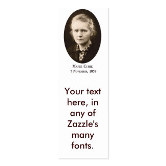 Marie-Curie Bookmark (biz card) Double-Sided Mini Business Cards (Pack Of 20)