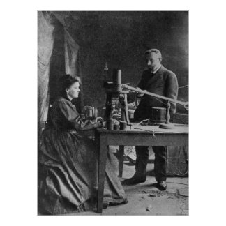 Marie Curie with husband Poster