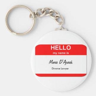 Marie D'Ajurck, Divorce Lawyer Basic Round Button Keychain