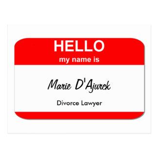 Marie D'Ajurck, Divorce Lawyer Postcard