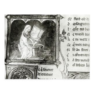 Marie de France  writing Postcard