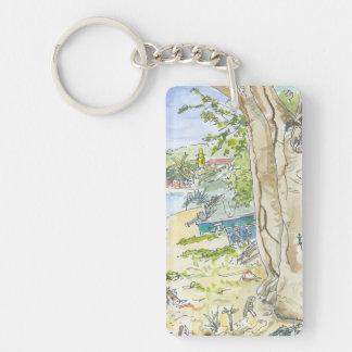 Marie Galante Beach Key Chain Rectangular Acrylic Key Chain