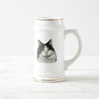 Marie gato negro y blanco de pelo largo tazas de café