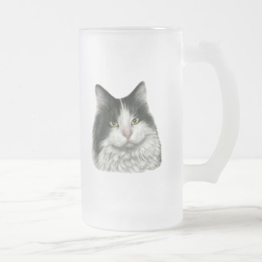 Marie, gato negro y blanco de pelo largo tazas de café