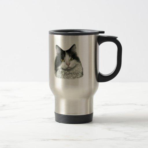 Marie, gato negro y blanco de pelo largo tazas