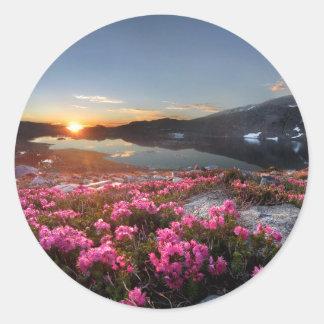 Marie Lakes Sunrise - John Muir Trail - Ansel Adam Classic Round Sticker