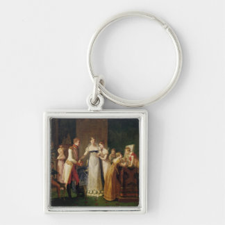 Marie-Louise Austria Bidding Farewell her Silver-Colored Square Keychain