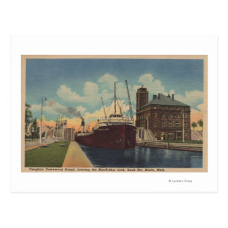 Marie MI - View of Freighter Leaving MacArthur Postcard