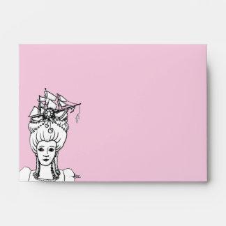Marie por los sobres caprichosos del mar en rosa
