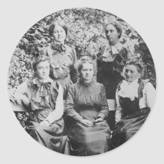 Marie Sklodowska Curie with her Four Students Classic Round Sticker