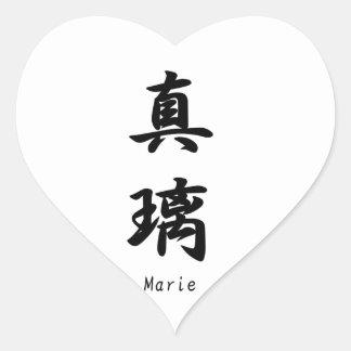Marie tradujo a símbolos japoneses del kanji calcomanías de corazones