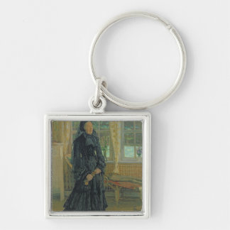 Marie Zacharias  Rainy Day, 1904 Silver-Colored Square Keychain