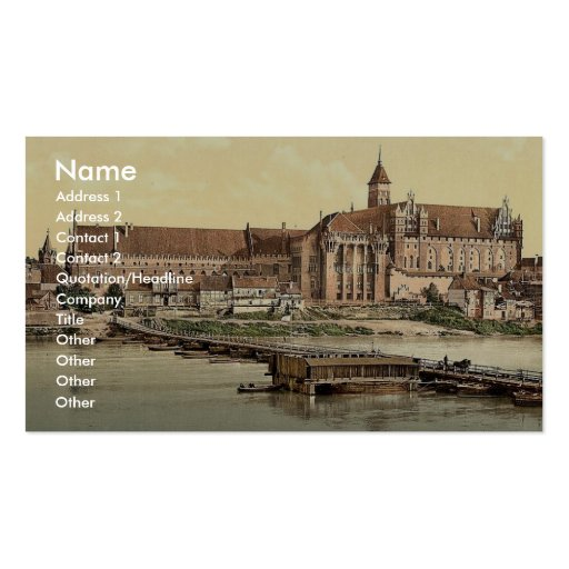 Marienburg, west side, Prussia, Germany (i.e., Mal Business Card Template