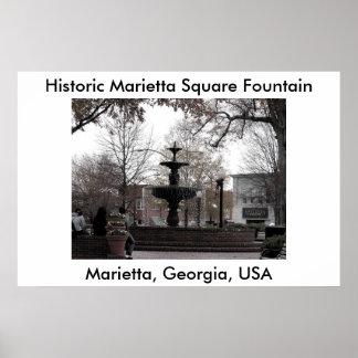 Marietta Square Fountain - cricketdiane photo art Poster