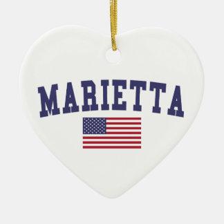 Marietta US Flag Ceramic Ornament