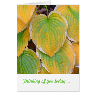 """Marigold And Lime Green Colored Plant Leaves Card"